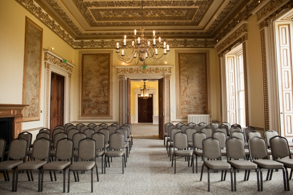 The tapestry room at Leigh Court set up in theatre style