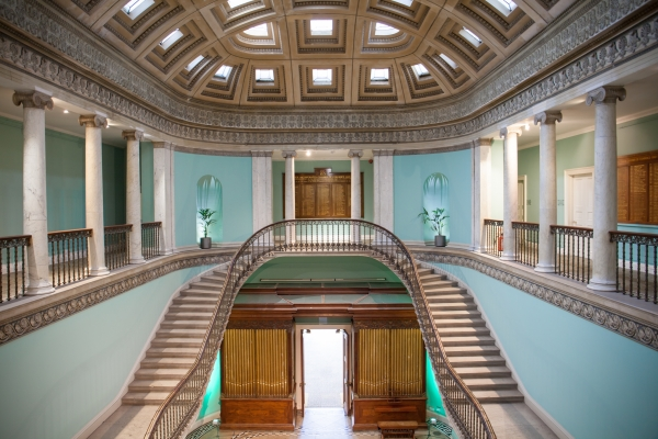 The staircase and ceiling in the Great Hall at Leigh Court