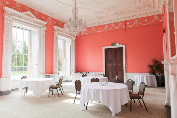The rose pink morning room at Leigh Court
