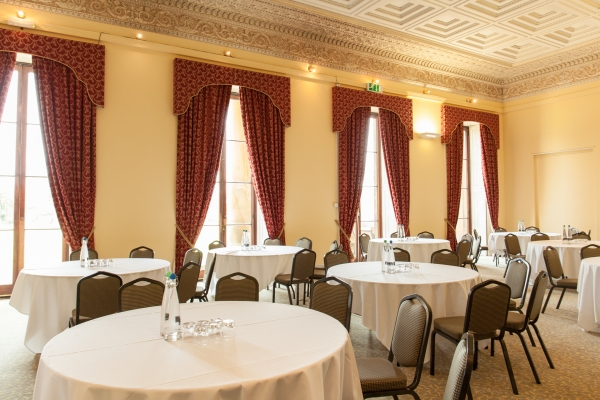 The Library room at Leigh Court set up for a networking event
